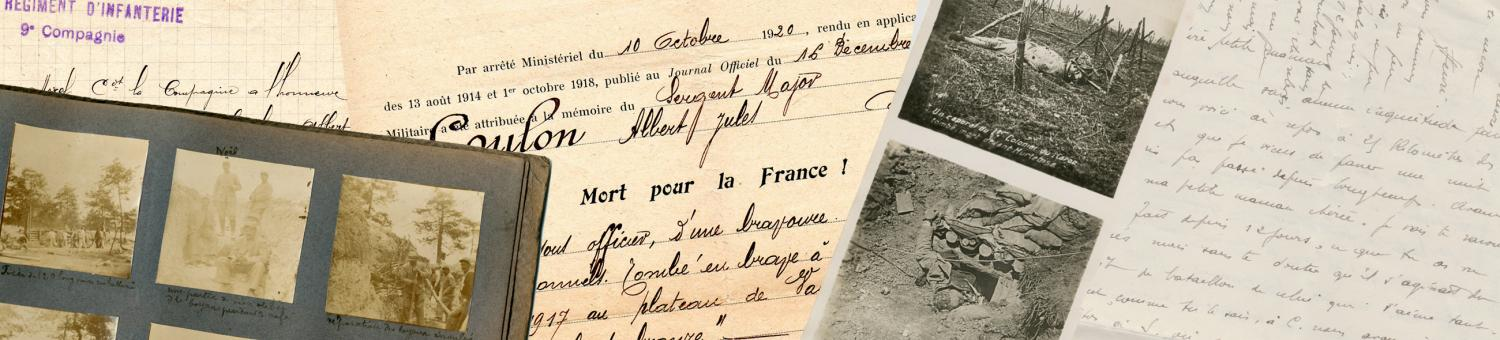Documents d'archives sur les combattants tombés au Chemin des Dames